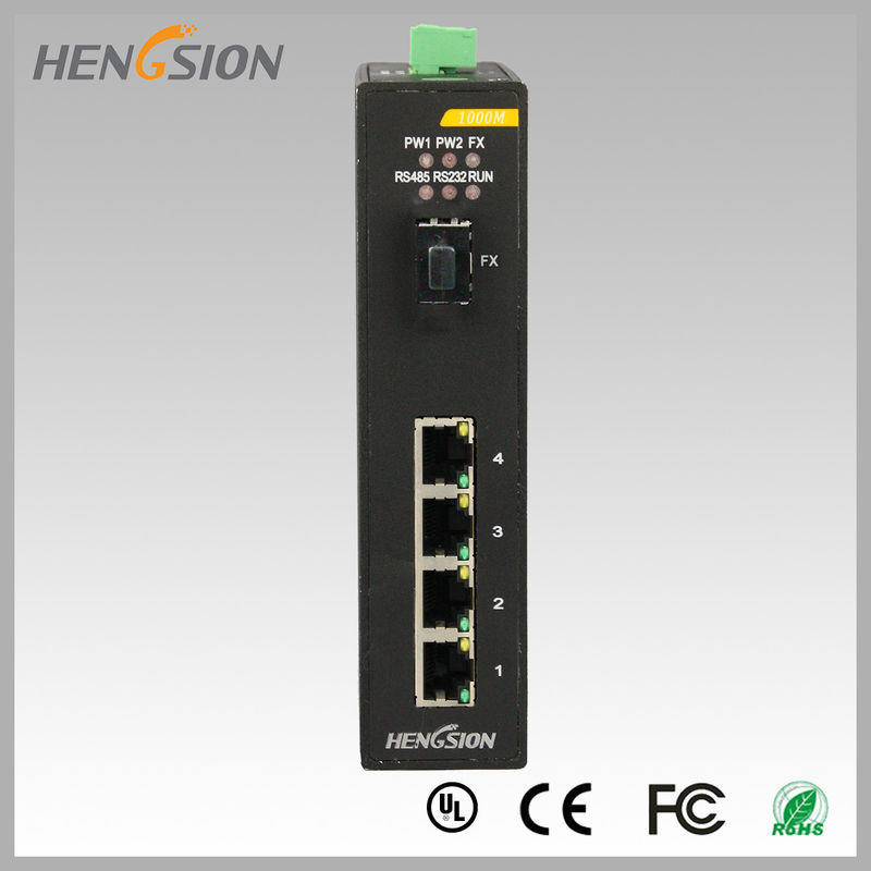 Fully Managed Industrial Gigabit Ethernet Switch 1 Gigabit FX SFP and 4 Gigabit Electric Port